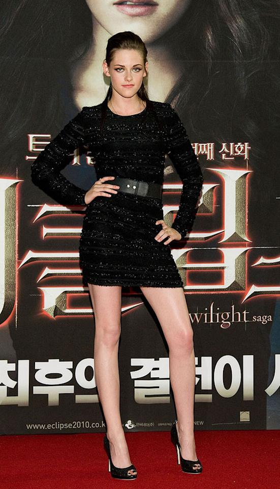 """Kristen Stewart has been killing it on the red carpet as of late. Remember when all she did was scowl while wearing atrocious outfits? Luckily, she continued to redeem herself at the Seoul premiere of """"Eclipse"""" in this textured Prabal Gurung mini and Jimmy Choo peep-toes. Han Myung-Gu/<a href=""""http://www.wireimage.com"""" target=""""new"""">WireImage.com</a> - June 3, 2010"""
