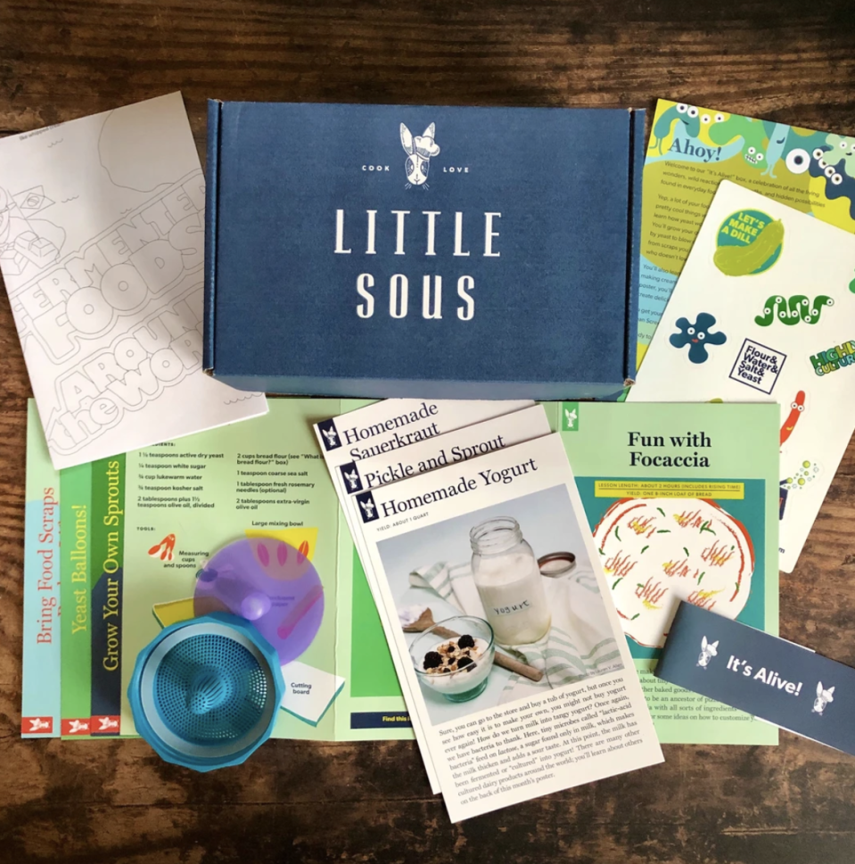 """<p><strong>Little Sous</strong></p><p>littlesous.com</p><p><strong>$79.99</strong></p><p><a href=""""https://littlesous.com/products/science-lovers-bundle"""" rel=""""nofollow noopener"""" target=""""_blank"""" data-ylk=""""slk:BUY NOW"""" class=""""link rapid-noclick-resp"""">BUY NOW</a></p><p>The recipes that come in Little Sous's subscription kits are a little more advanced than the other recipes you'll find on this list, and that's because they're designed for parents and kids to whip up together. Despite the more complex cooking process, they're still designed with kid's interests in mind—like this science lover's box. It offers a very tasty lesson in the chemistry of cooking.</p>"""