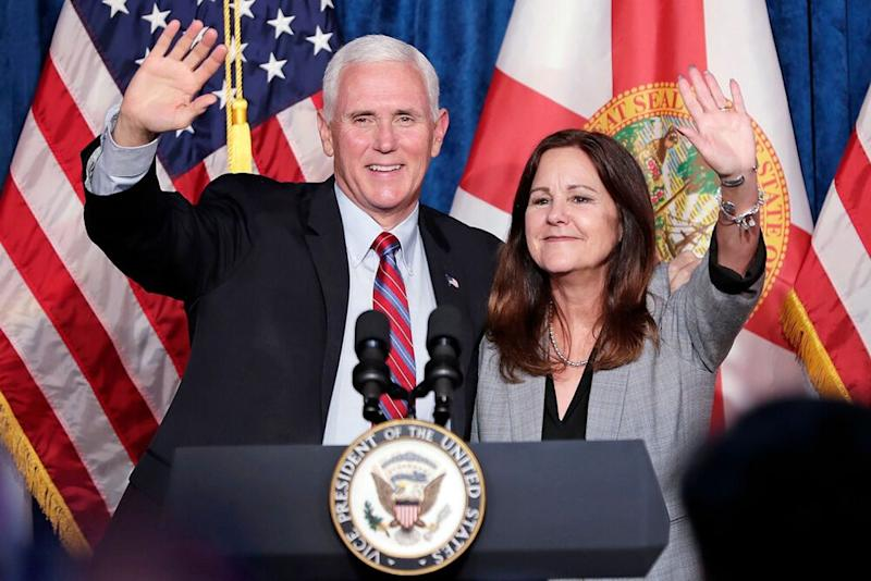 From left: Vice President Mike Pence and Second Lady Karen Pence in Kissimmee, Florida | John Raoux/AP/Shutterstock