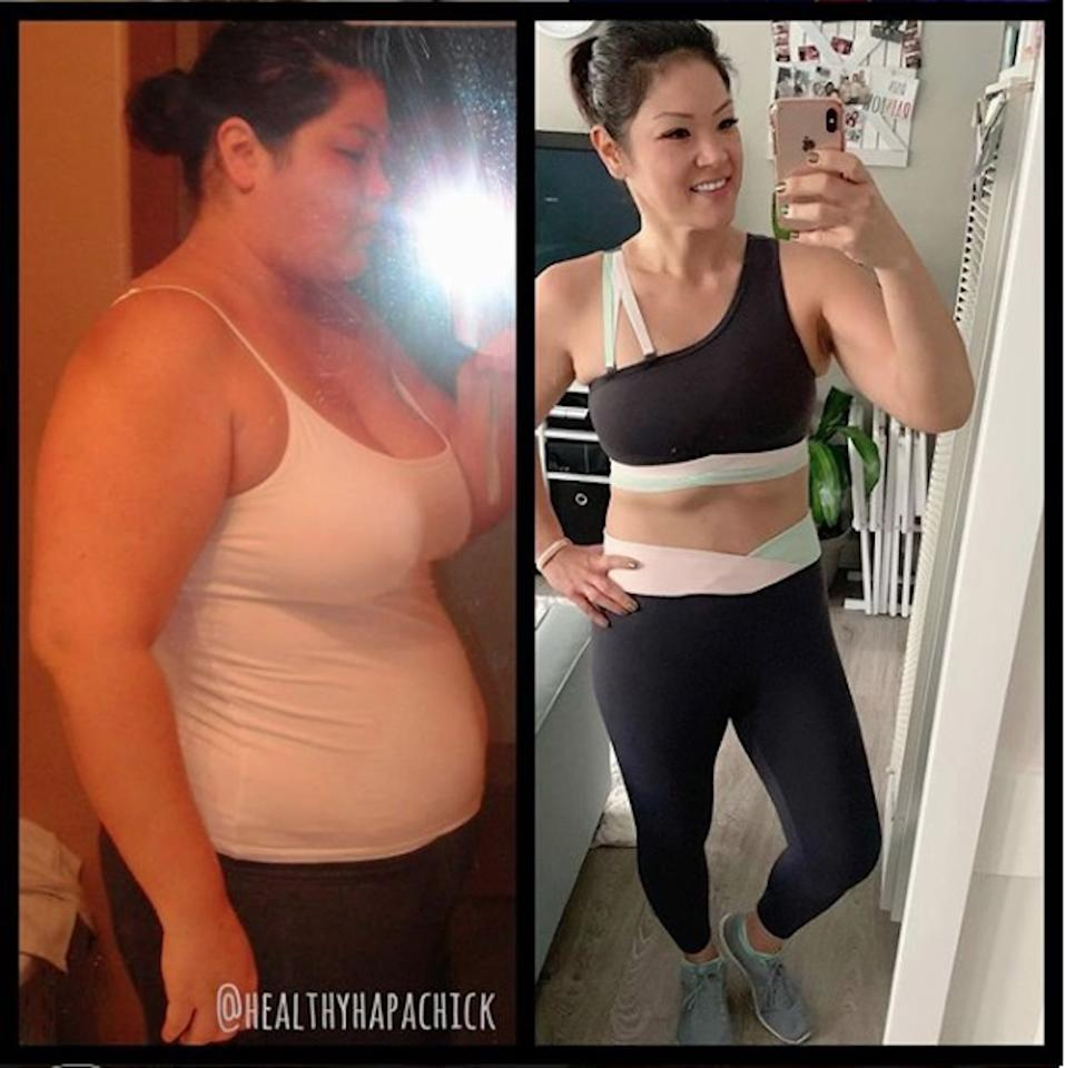 """<p>Kristina explained that with WW, nothing is off limits, which taught her how to find a healthy balance of the foods she chooses to consume. She doesn't count calories and instead uses <a href=""""https://www.popsugar.com/fitness/Do-Weight-Watchers-SmartPoints-Work-44245353"""" class=""""ga-track"""" data-ga-category=""""Related"""" data-ga-label=""""https://www.popsugar.com/fitness/Do-Weight-Watchers-SmartPoints-Work-44245353"""" data-ga-action=""""In-Line Links"""">SmartPoints</a> to track her food intake. Here's a glimpse of what she eats in a day: </p> <ul> <li> <strong>Breakfast:</strong> a piece of sourdough wheat toast topped with guacamole, two eggs, and Trader Joe's Everything but the Bagel seasoning</li> <li> <strong>Lunch:</strong> a salad with spring mix, Persian cucumbers, pepperoncinis, kalamata olives, red onions, reduced-fat feta cheese, artichoke hearts, and a protein like grilled shrimp or a chicken breast topped with a light balsamic vinaigrette</li> <li> <strong>Snack:</strong> strawberries and banana, a lentil dip, <a href=""""https://www.popsugar.com/fitness/Healthy-Recipe-Easy-Bruschetta-1833104"""" class=""""ga-track"""" data-ga-category=""""Related"""" data-ga-label=""""https://www.popsugar.com/fitness/Healthy-Recipe-Easy-Bruschetta-1833104"""" data-ga-action=""""In-Line Links"""">bruschetta</a>, and fat-free feta cheese with rosemary basil flatbread crackers</li> <li> <strong>Dinner:</strong> shredded chicken enchilada casserole with fat-free refried beans, corn on the cob, and roasted brussels sprouts</li> <li> <strong>Dessert:</strong> mint chocolate chip ice cream or mochi ice cream</li> </ul>"""