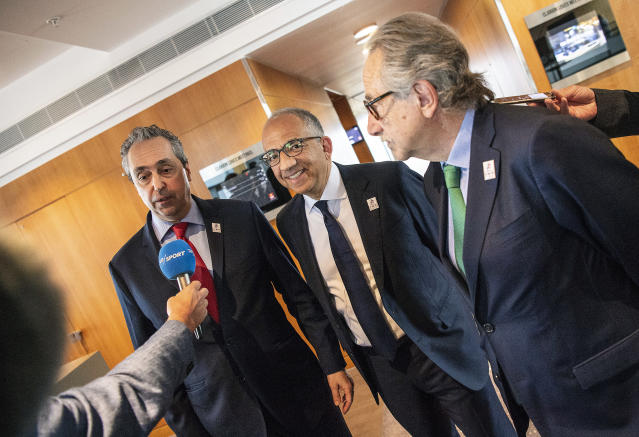 From left, Peter Montopoli, Secretary-General of the Football Association of Canada, Carlos Cordeiro, President of the United States Football Association and Decio de Maria, President of the Football Association of Mexico talk to the media after a meeting with Various Soccer Unions to present their bid to host the Soccer World Cup 2026, in Copenhagen, Thursday May 3, 2018. (Anders Kjaerbye/Ritzau Scanpix via AP)