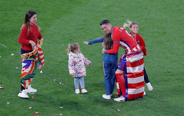 Soccer Football - Europa League Final - Olympique de Marseille vs Atletico Madrid - Groupama Stadium, Lyon, France - May 16, 2018 Atletico Madrid's Fernando Torres celebrates with his family after winning the Europa League REUTERS/Vincent Kessler