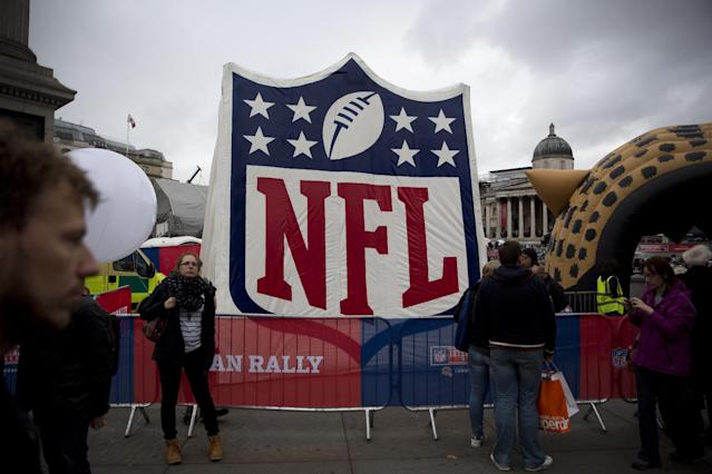 A large NFL logo stands on the edge of Trafalgar Square in London, during a fan rally, Saturday, Oct. 26, 2013. The San Francisco 49ers are due to play the the Jacksonville Jaguars at Wembley stadium in London on Sunday, Oct. 27 in a regular season NFL game. (AP Photo/Matt Dunham)