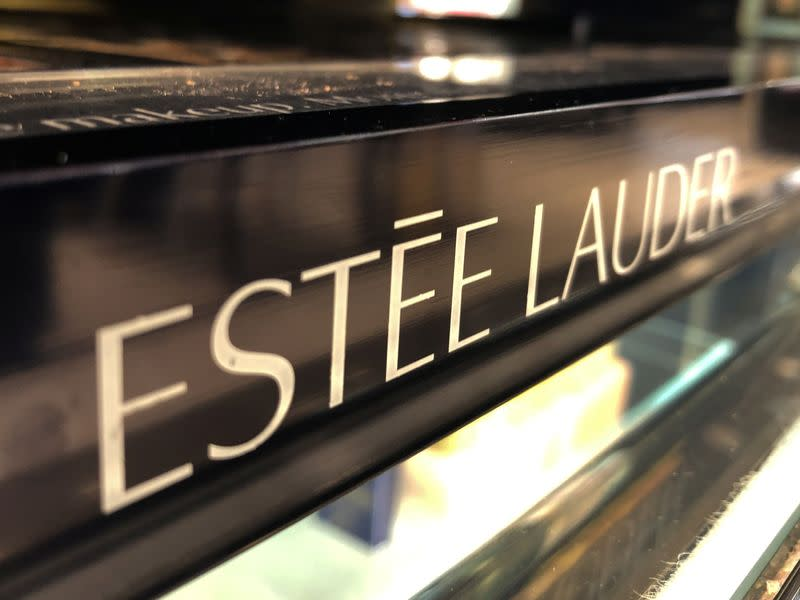 An Estee Lauder cosmetics counter is seen in Los Angeles