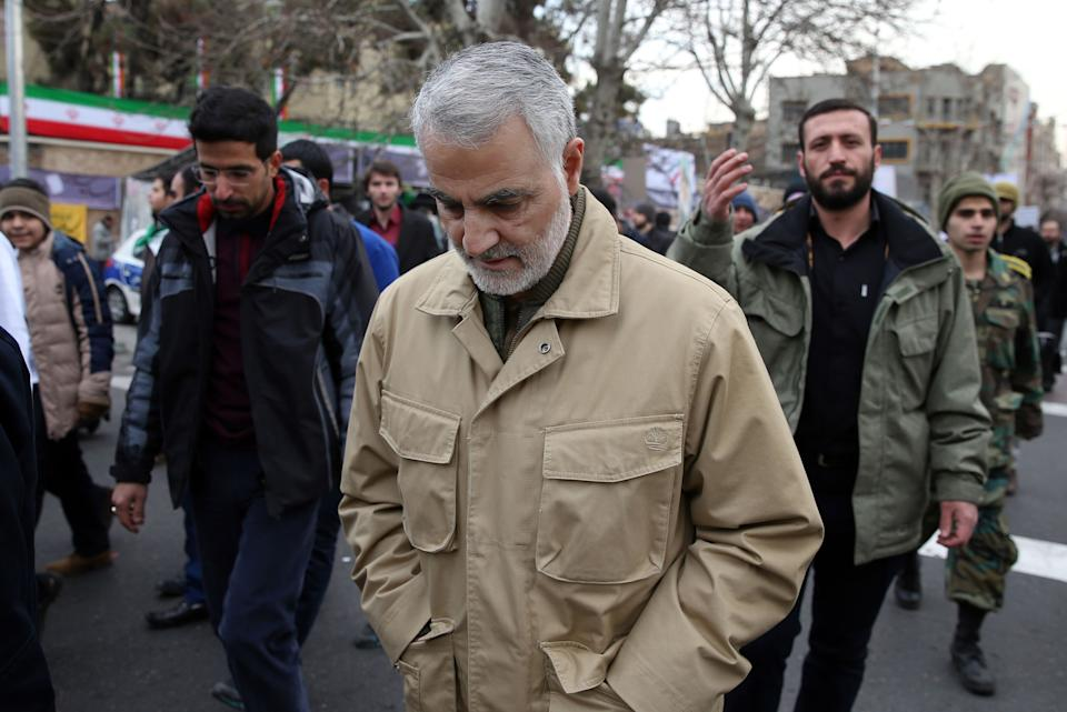 The commander of the Iranian Revolutionary Guard's Quds Force, General Qassem Soleimani, attends celebrations marking the 37th anniversary of the Islamic revolution on February 11, 2016 in Tehran. (STR/AFP via Getty Images)
