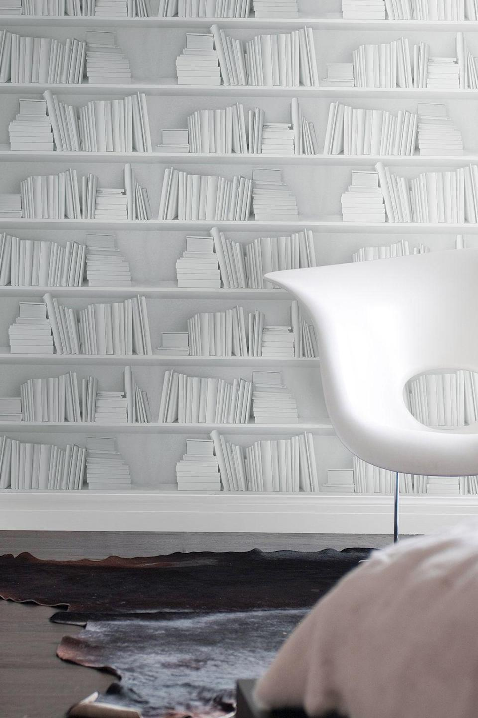 """<p>Books furnish a room but if you haven't the space to accommodate a library, this bookshelf-effect design adds depth and character without the clutter. And the dusting.</p><p><strong>I Love Retro</strong> Classic Bookshelf Wallpaper, £70 per 250 cm, available at <a href=""""https://www.iloveretro.co.uk/classic-bookshelf-wallpaper"""" rel=""""nofollow noopener"""" target=""""_blank"""" data-ylk=""""slk:I Love Retro"""" class=""""link rapid-noclick-resp"""">I Love Retro</a></p>"""