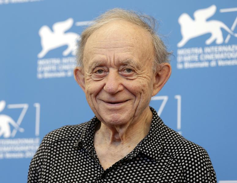FILE - In this Aug. 29, 2014, file photo, Frederick Wiseman poses for photographers during the photo call for the Golden Lion Career Award during the 71st edition of the Venice Film Festival in Venice, Italy. On Saturday, Nov. 12, 2016, Wiseman will be awarded an honorary Academy Award from the film academy's Board of Governors. (AP Photo/David Azia, File)
