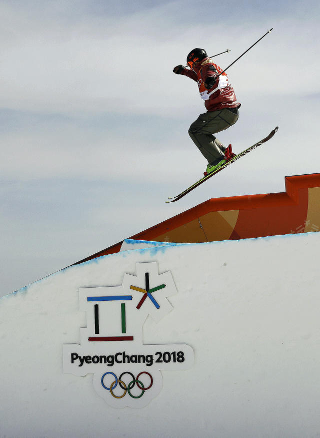 <p>Alex Beaulieu-Marchand, of Canada, jumps during the men's slopestyle qualifying at Phoenix Snow Park at the 2018 Winter Olympics in Pyeongchang, South Korea, Sunday, Feb. 18, 2018. (AP Photo/Kin Cheung) </p>