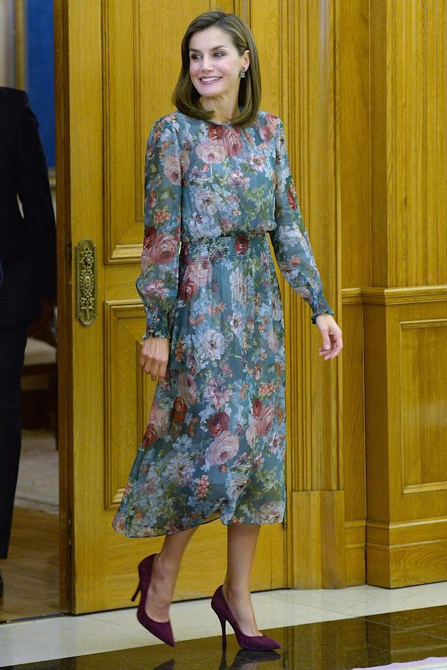 Spain's Queen Letizia certainly made a statement when she hosted an audience for medical professionals at Zarzuela Palace in Madrid this week.