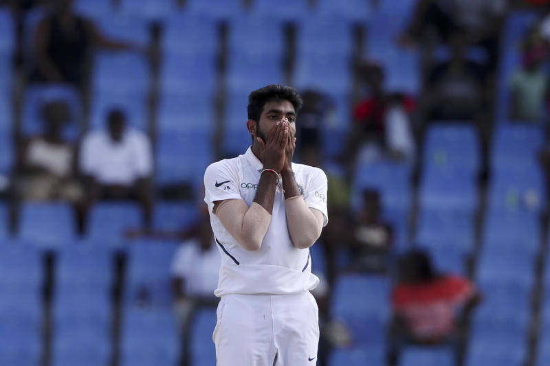 India's bowler Jasprit Bumrah reacts after a delivery against West Indies during day four of the first Test cricket match at the Sir Vivian Richards cricket ground in North Sound, Antigua and Barbuda, Sunday, Aug. 25, 2019. (AP Photo/Ricardo Mazalan)