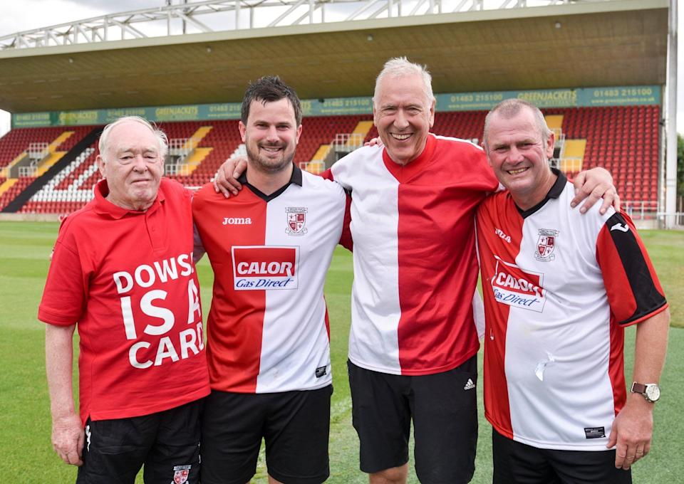 Martin Tyler (second right) with Woking manager Alan Dowson (far right)