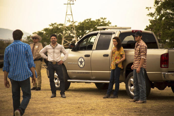 """This image released by IFC Films shows, from second left, George Lopez, Frank Grillo, Andie McDowell and Jake Allyn in a scene from """"No Man's Land."""" (IFC FIlms via AP)"""