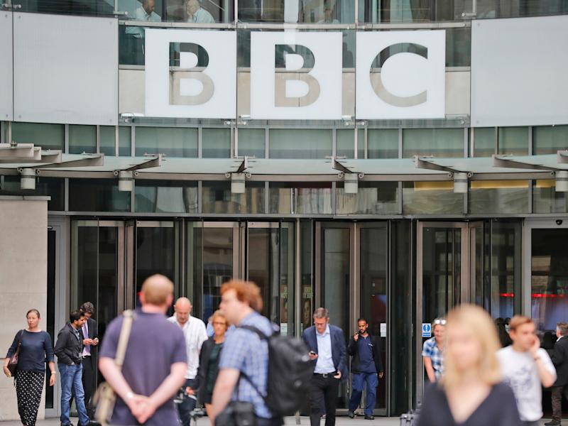FILE - In this file photo dated Wednesday, July 19, 2017, an entrance to the headquarters of the publicly funded BBC in London. Britain's government announced Wednesday Feb. 5, 2020, that it is considering a change in the way the nation's public broadcaster, the BBC is funded. (AP Photo/Frank Augstein, FILE)