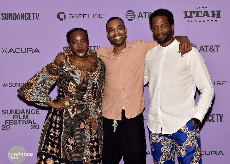 """Wunmi Mosaku, Remi Weekes, and Sope Dirisu attend the Netflix """"His House"""" Midnight Premiere on January 27, 2020. (Photo by David Becker/Getty Images for Netflix)"""