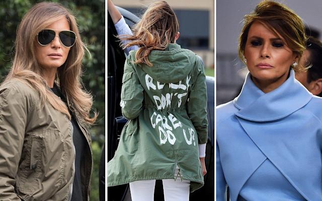 "Is it because she so rarely speaks? Or that her face is so monumentally inscrutable? Whatever the reason, the crescendo of speculation around everything that Melania Trump does, wears and says has now reached peak meme with one very vocal Zara jacket. Here, we chart the moments that led to this... July 2016: Did she plagiarise Michelle Obama? Judge for yourself When Melania Trump gave a speech to the Republican National Convention in July 2016, she talked of having been raised with ""the values that you work hard for what you want in live, that your word is your bond, that you do what you say and keep your promise, that you treat people with respect… because we want our children to know that the only limits to your achievements is the strength of your dreams and your willingness to work for them"". Spookily enough, Michelle Obama was raised with exactly the same values, as she told the Democratic convention in 2008… in exactly the same words. Jan 2017: Inauguration Day Trump's Inauguration was a meme-maker's dream - and we're not just talking about the size of his crowds. There was the moment when Barack and Michelle greeted their successors on the White House steps, and Melania gave Michelle Obama a giant Tiffany box (oddly, the same proportions as the kind you'd get a dozen Krispy Kremes), and the outgoing First Lady turns to hand it off to an aide, failing to hide her total and utter disgust. Then there was the moment during the ceremony itself, when Trump turned back to talk to his wife, who smiled and nodded… only to drop her smile like a dirty sock as soon as he turned away. (Initially thought to have been a work of mischief, a bit of footage run backwards; the full video of the event proves otherwise.) pic.twitter.com/IDrGPkJQSl— Marv Dawson (@mrvndn) January 23, 2017 And then, during the Women's March on the following day, there was the poster held high by one of the many protesters telling her, 'Melania: Blink twice if you want us to save you'. And lo, the #FreeMelania hashtag was born. April 2017: The official portrait It was many months before the First Lady's official portrait was unveiled, but when it did, it was worth the wait. Melania looks like she's about to drop the most �� ballad of 1987 https://t.co/pvMrqvfCJ6— UConn baseball appreciator (@NoEscalators) April 3, 2017 May 2017: I want to hold your hand In case her decision to stay in New York with her son, Barron, while he finished his school year didn't stoke enough rumours that she wanted as much distance as possible between her and her husband, there was this: watch closely, and you'll see her appear to swat his hand away when he reaches for hers. August 2017: Fashion faux pas, no. 1 What do you wear to a hurricane, when dozens died and tens of thousands were displaced? Stilettos, of course. October 2017: Fake Melania? Footage of her glowering behind Trump in a trench coat, oversized sunglasses and face-shading blowdry as he insisted that ""we've done a great job in Puerto Rico"", prompted questions of whether or not the woman we could see may in fact be a body double. ""We've done a great job in Puerto Rico,"" President Trump says of hurricane relief efforts https://t.co/76jXCrGqVV— NBC News (@NBCNews) October 13, 2017 Christmas 2017: Have yourself a terrifying Christmas Traditionally, one of the First Lady's duties is to choose the White House's Christmas decorations. The theme last year? Somewhere between Voldemort and Game of Thrones. AIDE: ""What should the theme of this year's holiday decorations be?"" MELANIA: ""My soul."" https://t.co/QkZhxPjoJ2— Jess Dweck (@TheDweck) November 27, 2017 February 2018: Look no hands Melania again appears to reject holding Trump's hand, this time evolving her technique by shoulder-robing her coat and thus making his attempts even more futile. WATCH: President Trump and First Lady Melania Trump depart the White House on their way to Ohio pic.twitter.com/unoZ5xyEXN— NBC News (@NBCNews) February 5, 2018 April 2018: #Awkward This time, there was no question: Melania could not, would not hold her husband's hand. ""I know I've been an absentee dad and a horrible husband - including flagrant affairs while you were pregnant - but let's just hold hands at this event..."" pic.twitter.com/gLDCs40iCk— Shannon Watts (@shannonrwatts) April 24, 2018 May and June 2018: Where's Melania? For three intriguing weeks between May 10 and June 6, Melania dropped out of view. A surprise announcement that she'd undergone a medical procedure to treat a kidney condition led to spiralling speculation. Even her denial that anything was up was met with scepticism ('Please show us a photo of yourself holding up today's newspaper with the date visible, we want to know you are ok', wrote one Twitter wag.) June 2018: That jacket... The inscrutability of Melania reaches its zenith with the moment in which she departs for her visit to a centre for refugee children wearing the now-infamous Zara jacket, bearing the words, 'I really don't care. Do u?' Is the message directed at the children? At her husband? Or at the 'fake news' media, as he insists? We may never know."