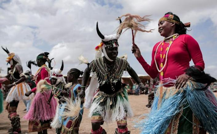 Sudan is a Muslim-majority nation but includes Christians and people following their own indigenous beliefs, including in the homeland of these dancers from the southern Nuba Mountains region, here photographed in August 2019