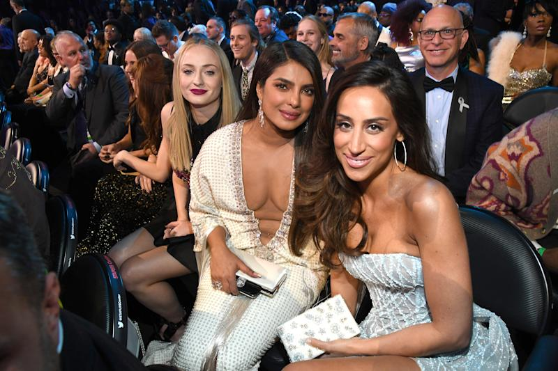 Sophie Turner, Priyanka Chopra Jonas, and Danielle Jonas during the 62nd Annual GRAMMY Awards at STAPLES Center on January 26, 2020 in Los Angeles, California.