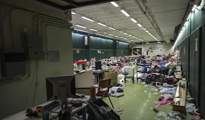 Damage inside Polytechnic University on November 24 as anti-government protesters remained inside. Photo: Edmond So