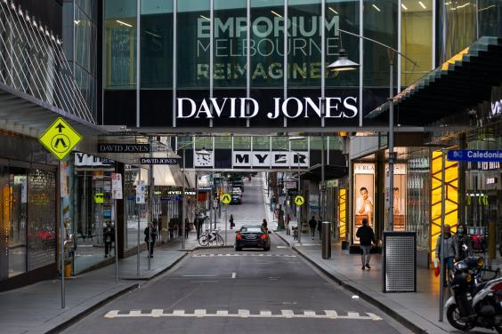 A quiet little bourke street near Myer, David Jones and the Emporium in Melbourne, Australia (Getty Images)