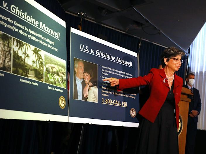 NEW YORK, NEW YORK - JULY 02: Acting United States Attorney for the Southern District of New York, Audrey Strauss, speaks to the media at a press conference to announce the arrest of Ghislaine Maxwell.
