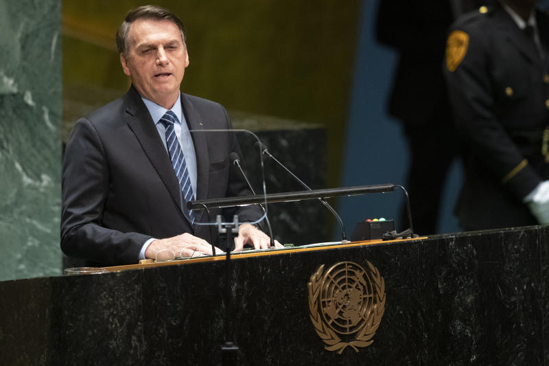 Brazil's President Jair Bolsonaro addresses the 74th session of the United Nations General Assembly at U.N. headquarters Tuesday, Sept. 24, 2019. (AP Photo/Mary Altaffer)