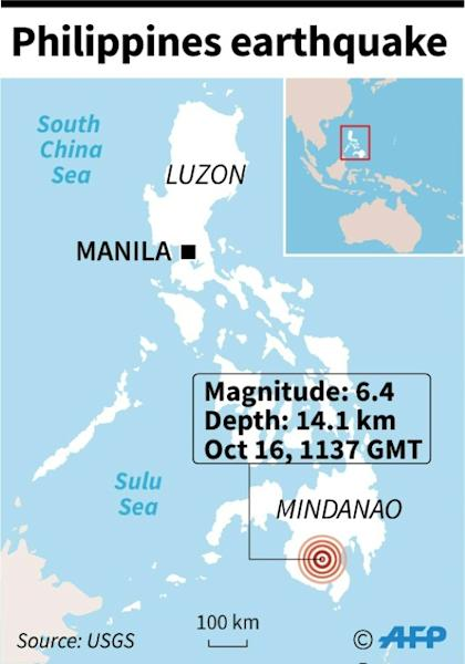 Map locating a 6.4 magnitude earthquake which hit the Philippines Wednesday