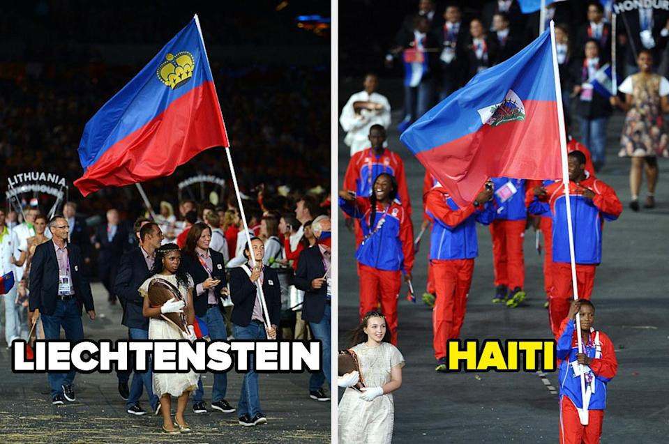The national flags of Liechtenstein and Haiti in the opening ceremonies