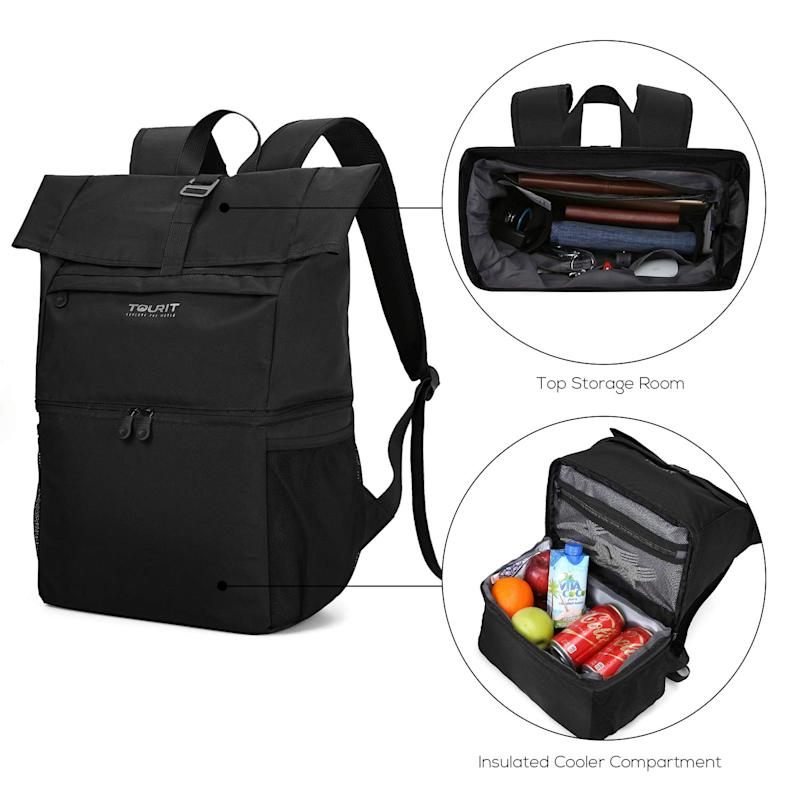TOURIT 12 Cans Insulated Laptop Cooler Backpack. (Photo: Amazon)