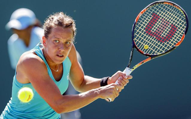 Barbora Strycova in action at the Miami Open this week - EPA
