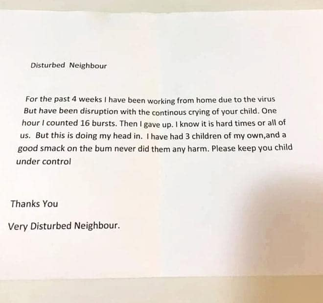 A 'disturbed neighbour' has caused outrage after complaining about a crying baby. Photo: Facebook