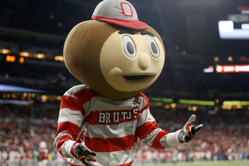INDIANAPOLIS, INDIANA - DECEMBER 07: Brutus Buckeye, the Ohio State Buckeyes mascot on the field during the Big Ten Championship game against the Wisconsin Badgers at Lucas Oil Stadium on December 07, 2019 in Indianapolis, Indiana. (Photo by Justin Casterline/Getty Images)