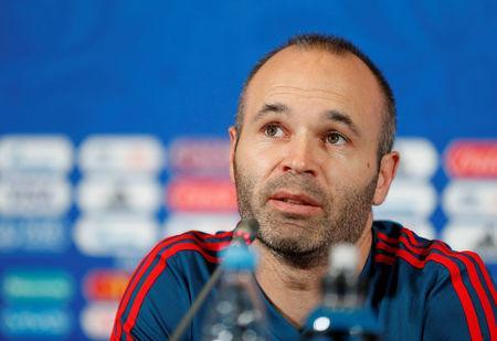 Soccer Football - World Cup - Spain Press Conference - Kazan Arena, Kazan, Russia - June 19, 2018 Spain's Andres Iniesta during the press conference REUTERS/John Sibley