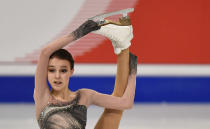 Russian skater Anna Shcherbakova performs during the Ladies Free Skating at the Figure Skating World Championships in Stockholm, Sweden, Friday, March 26, 2021. (AP Photo/Martin Meissner)