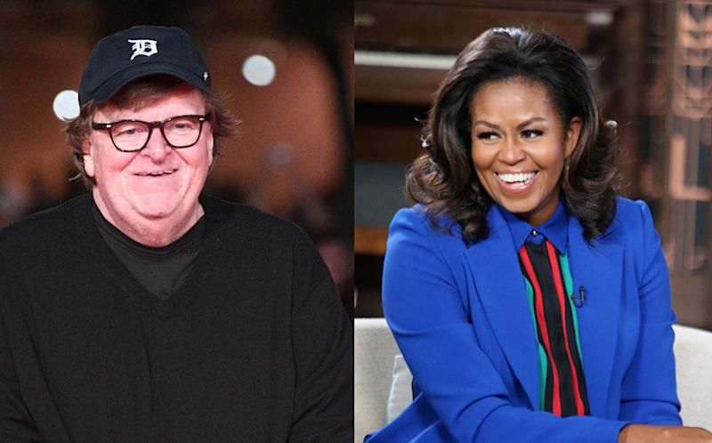 Michael Moore thinks Michelle Obama should run for president in 2020. (Photos: Getty Images)