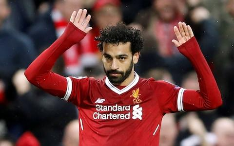 Mohamed Salah celebrates his first goal for Liverpool against his former club Roma discreetly - Credit: Action Images via Reuters/Carl Recine