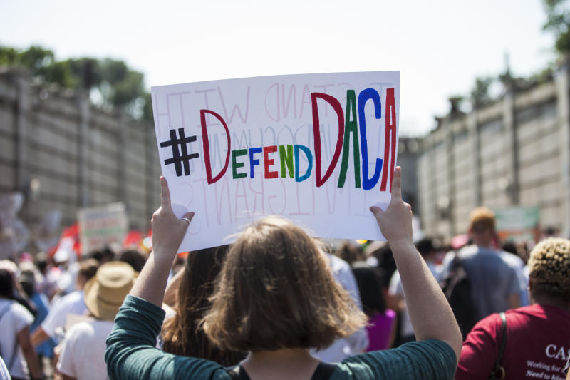 People march against the Trump administration's decision to end DACA on Sept. 5 in Washington, D.C. (Zach Gibson via Getty Images)