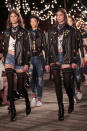 <p>Pairs of famous models including Taylor Hill, Hailey Baldwin and intersex icon Hanne Gaby Odiele came out wearing the exact same outfits.<br><i>[Photo: Getty]</i> </p>