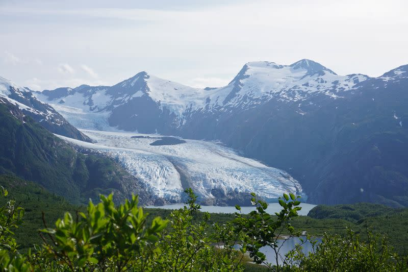 Portage Glacier as seen from Portage Pass in Chugach National Forest in Alaska