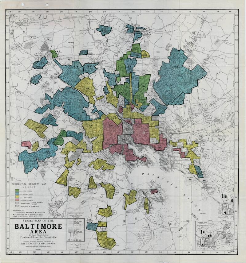 "A redlined map of Baltimore, 1935. Source: ""Mapping Inequality,"" American Panorama."