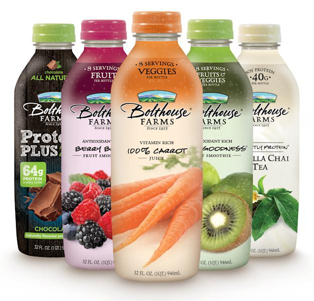 This undated handout image provided by Campbell Soup. Co. shows bottles of Bolthouse Farms drinks. Campbell Soup Co., said Monday, July 9, 2012, that it will buy natural foods maker Bolthouse Farms in a $1.55 billion cash deal from private equity firm Madison Dearborn Partners LLC. Campbell says Bolthouse's line of juices and carrots will help it feed Americans' growing appetite for fresher foods. (AP Photo/Campbell Soup)