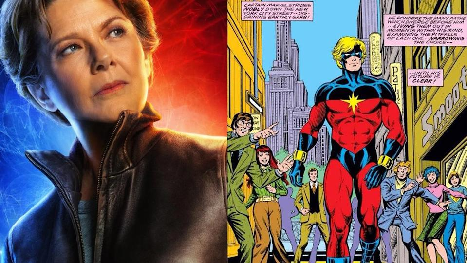 Annette Bening as Mar-Vell, and her male comics counterpart.