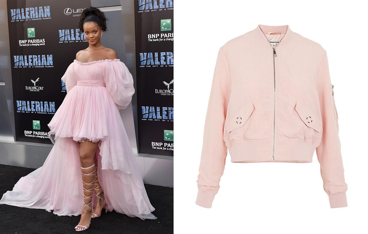 """<p>Rihanna's floaty pink Molly Goddard dress worn to the 'Valerian' premiere back in July caused chaos when it came to the dreaded <a rel=""""nofollow"""" href=""""https://www.johnlewis.com/whistles-rudy-casual-bomber-jacket/p3182170?colour=Nude#media-overlay_show"""">millennial pink</a> shade. People seemingly couldn't get enough with sales of pink jackets increasing by 55% on JohnLewis.com.<br /><i>[Photo: Getty/John Lewis]</i> </p>"""