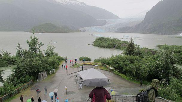 PHOTO: A bloated Mendenhall Lake submerges walking trails and beach areas popular with tourists in summer on July 11, 2014, in Juneau, Alaska, after glacial outburst flood warnings. (Becky Bohrer/AP, FILE)