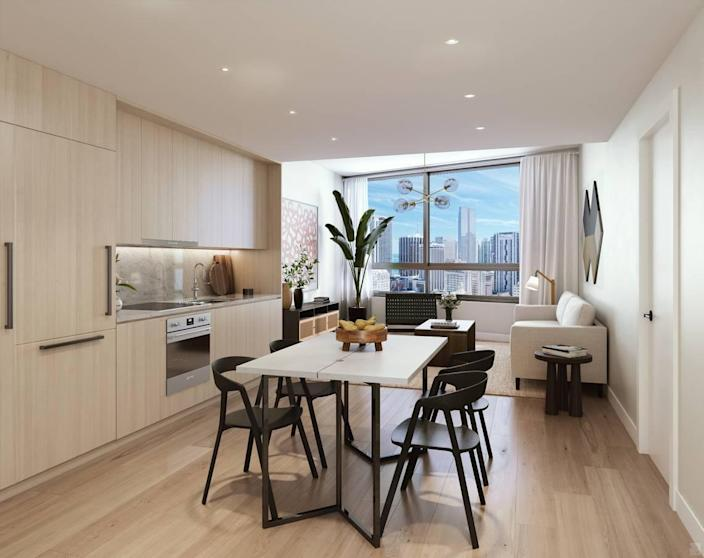 Architectural rendering of the interior of one of the condos at the District 225 condo tower.