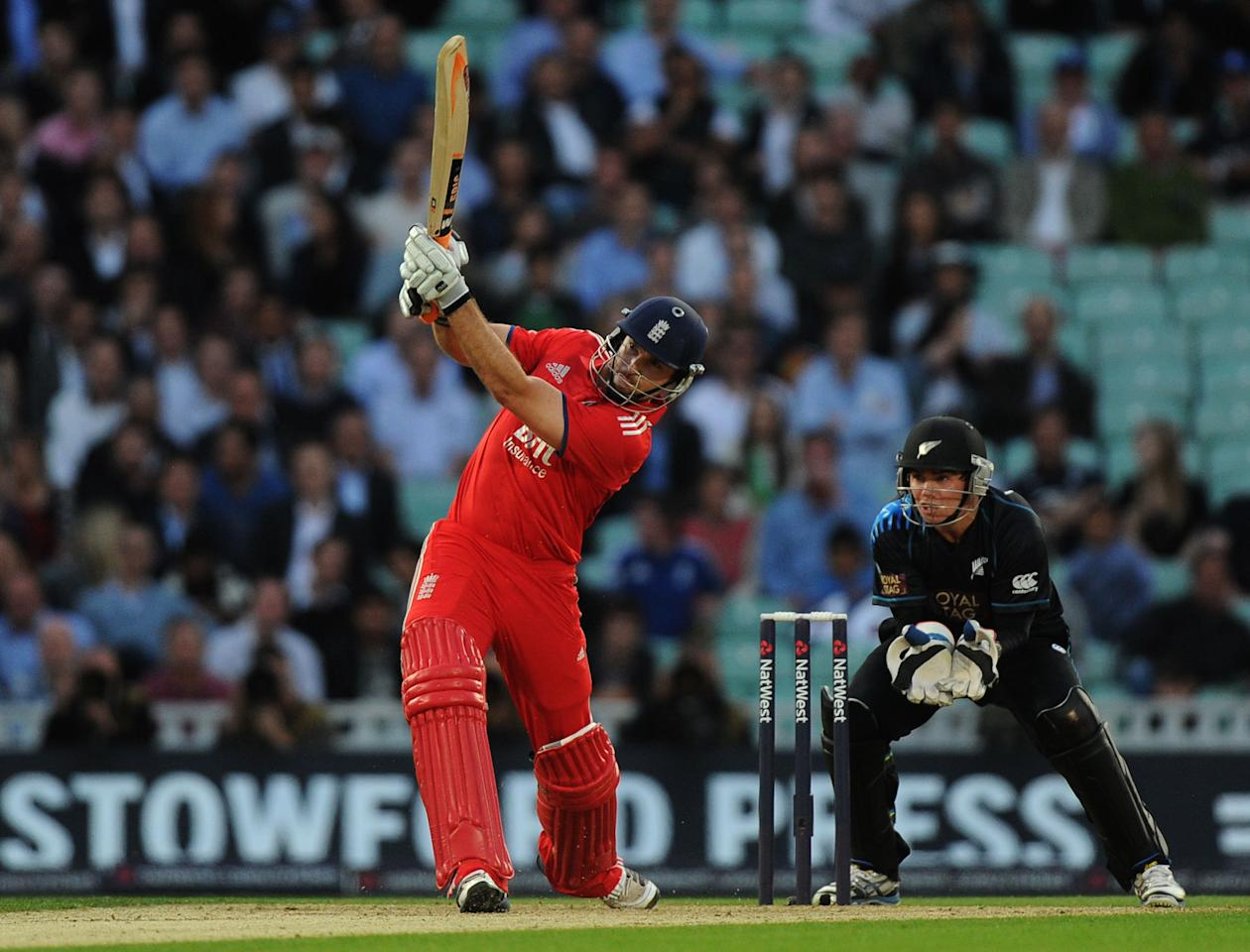 England's Michael Lumb hits a boundary during the Natwest International Twenty20 match at the Kia Oval, London.