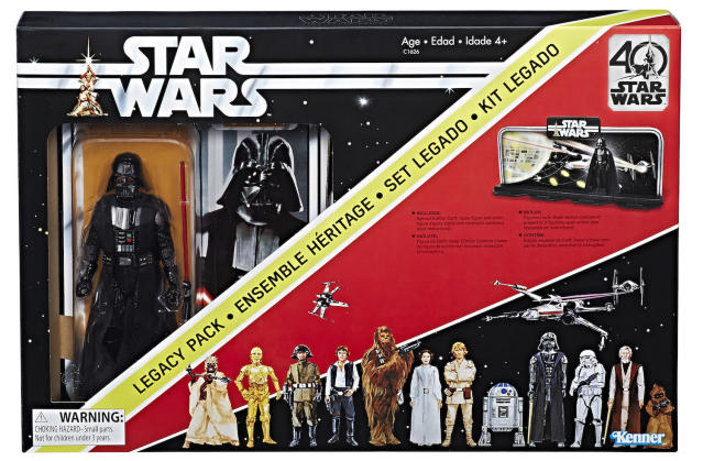 For the 40th anniversary of <em>Star Wars</em>, Hasbro issued deluxe versions of the original Kenner figures in throwback packaging, including Darth Vader in a recreation of the Early Bird envelope. (Photo: Hasbro)