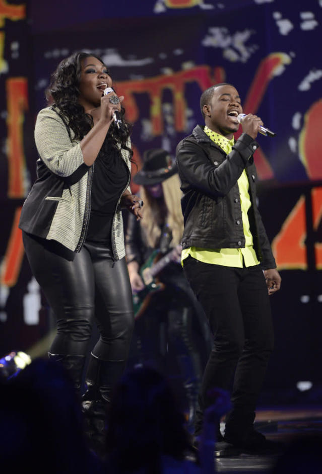 "Candice Glover and Burnell Taylor perform The Box Tops' ""The Letter"" on the Wednesday, April 3 episode of ""American Idol."""