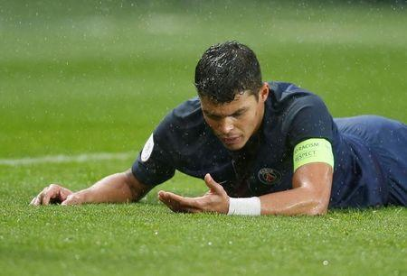 Football Soccer - Paris St Germain v Nancy - French Ligue 1 - Parc des Princes stadium, Paris, France - 4/3/2017 - Paris St Germain's Thiago Silva reacts during the match. REUTERS/Regis Duvignau