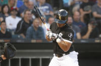 Chicago White Sox's Jose Abreu is hit by a pitch from Miami Marlins starting pitcher Zac Gallen during the third inning of a baseball game Wednesday, July 24, 2019, in Chicago. (AP Photo/Charles Rex Arbogast)