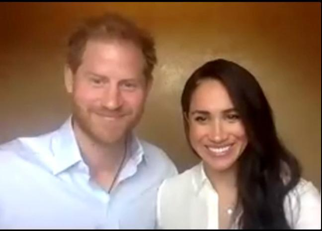 Harry and Meghan addressing the QCT via Zoom. (QCT)